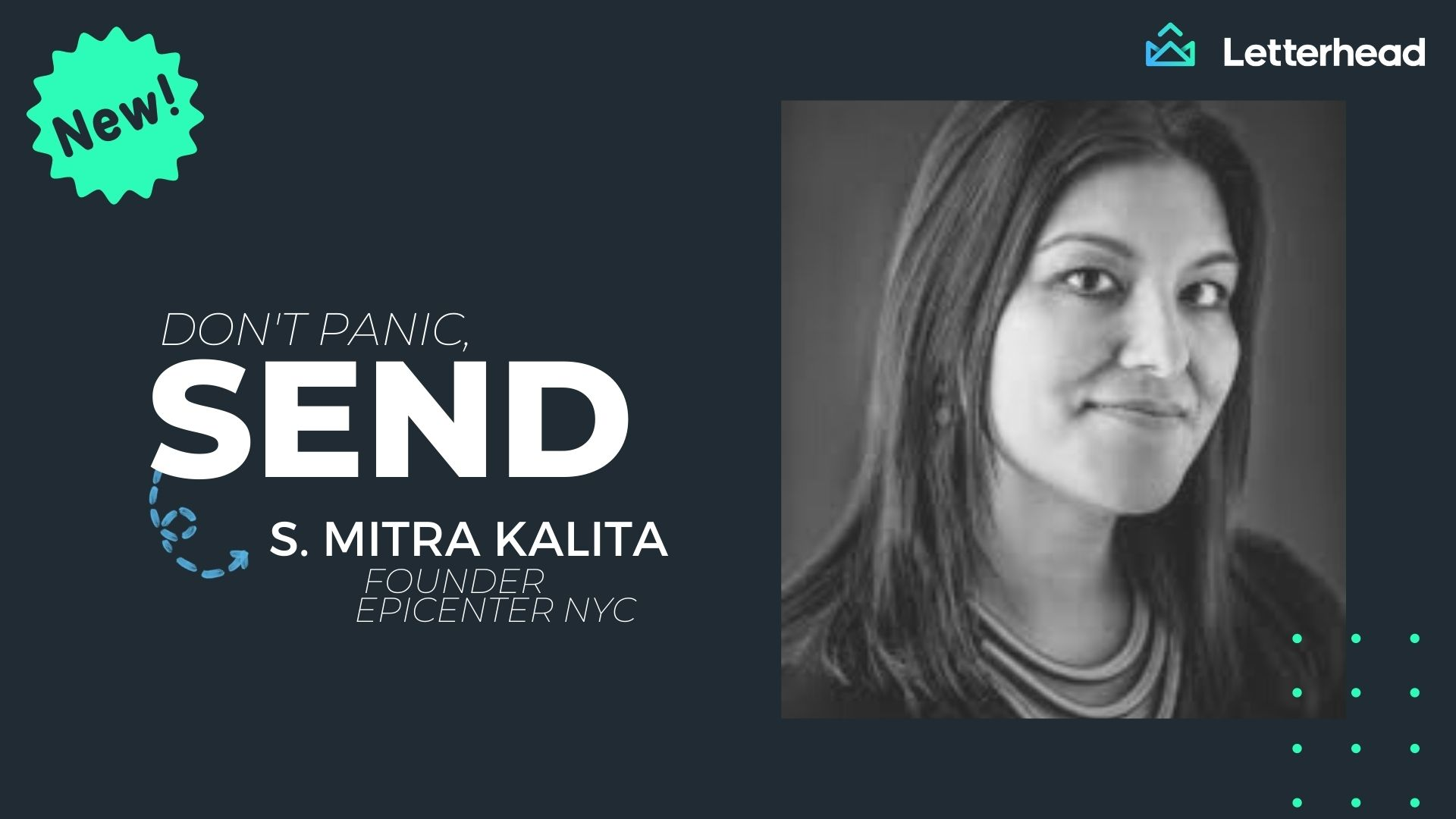 Don't panic send banner image with Mitra Kalita profile image.